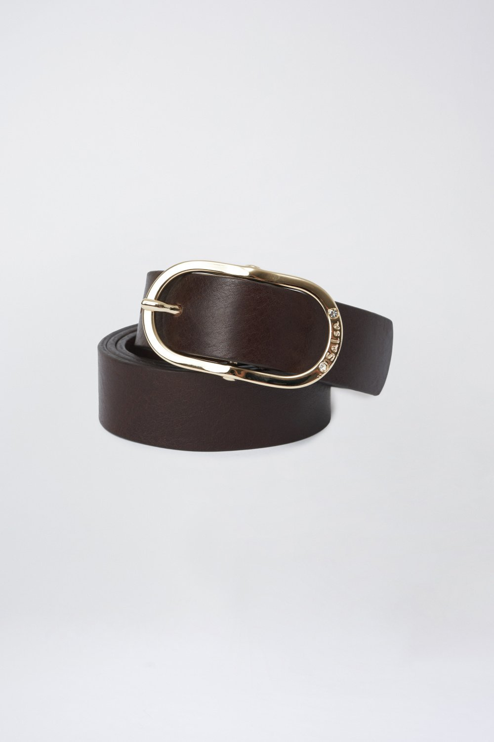 Leather belt with gem buckle - Salsa