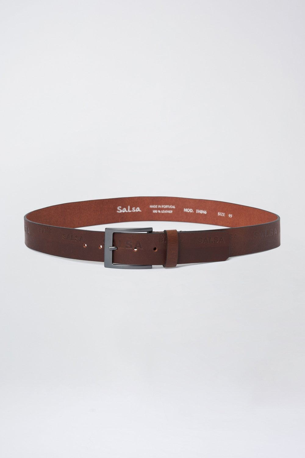 Leather belt with logo - Salsa