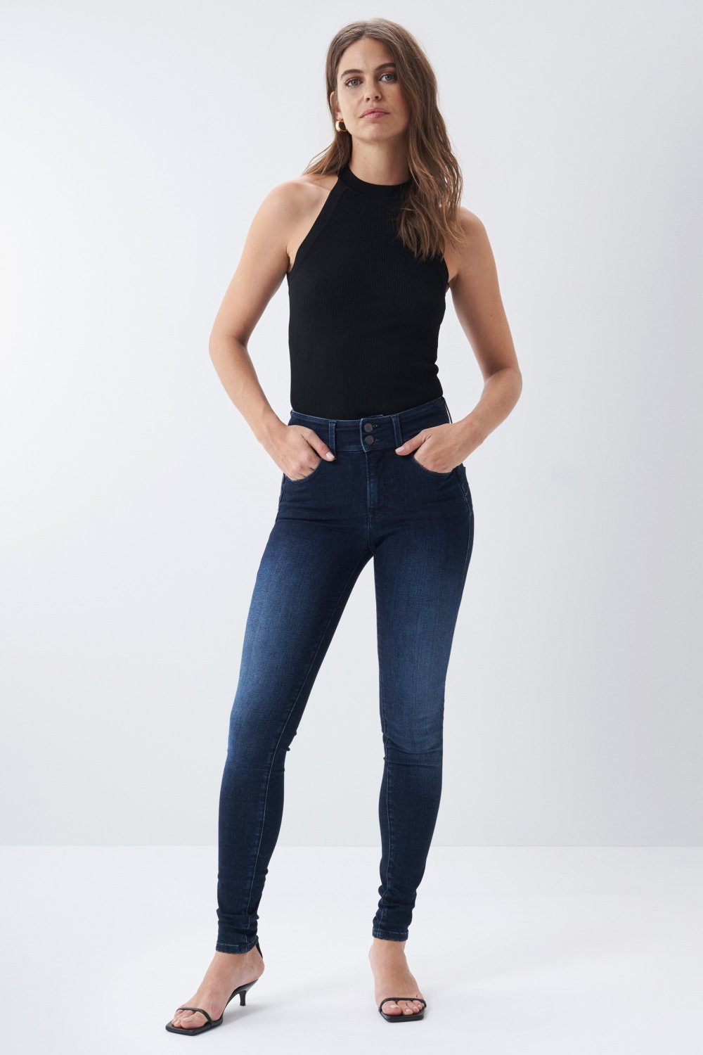 Jeans secret push in skinny denim escuro - Salsa