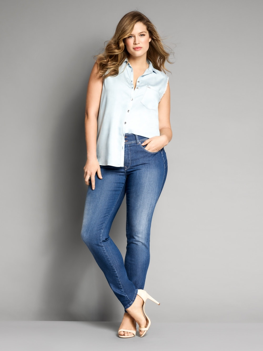Jeans Secret, Plus Push In, Skinny, mittlere Waschung - Salsa