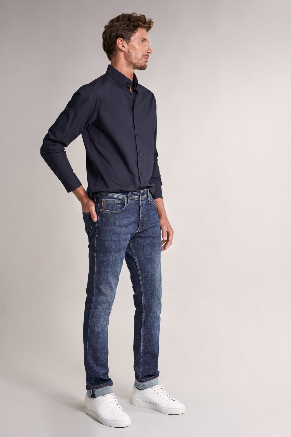 Stretch Plain Shirt - Salsa