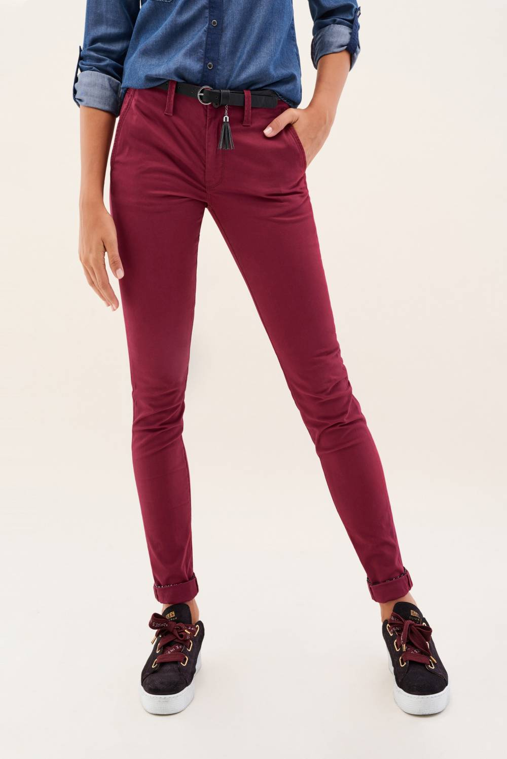 Chino colette trousers with belt offer - Salsa