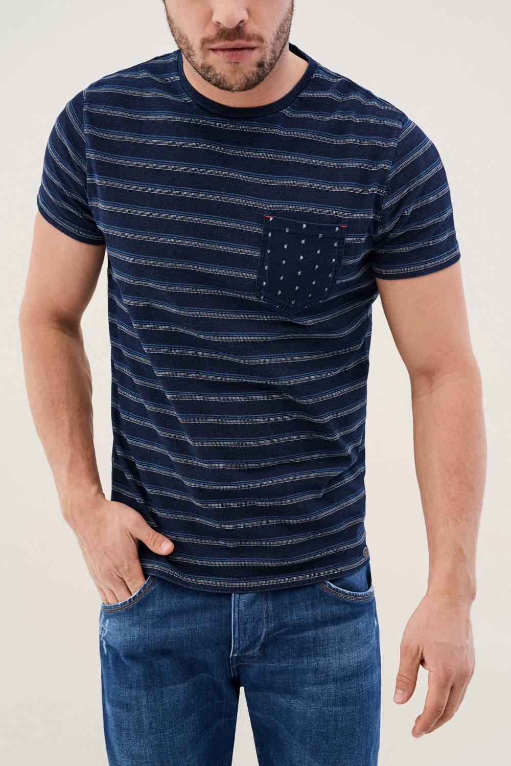 Striped shirt with microprint on the pocket - Salsa