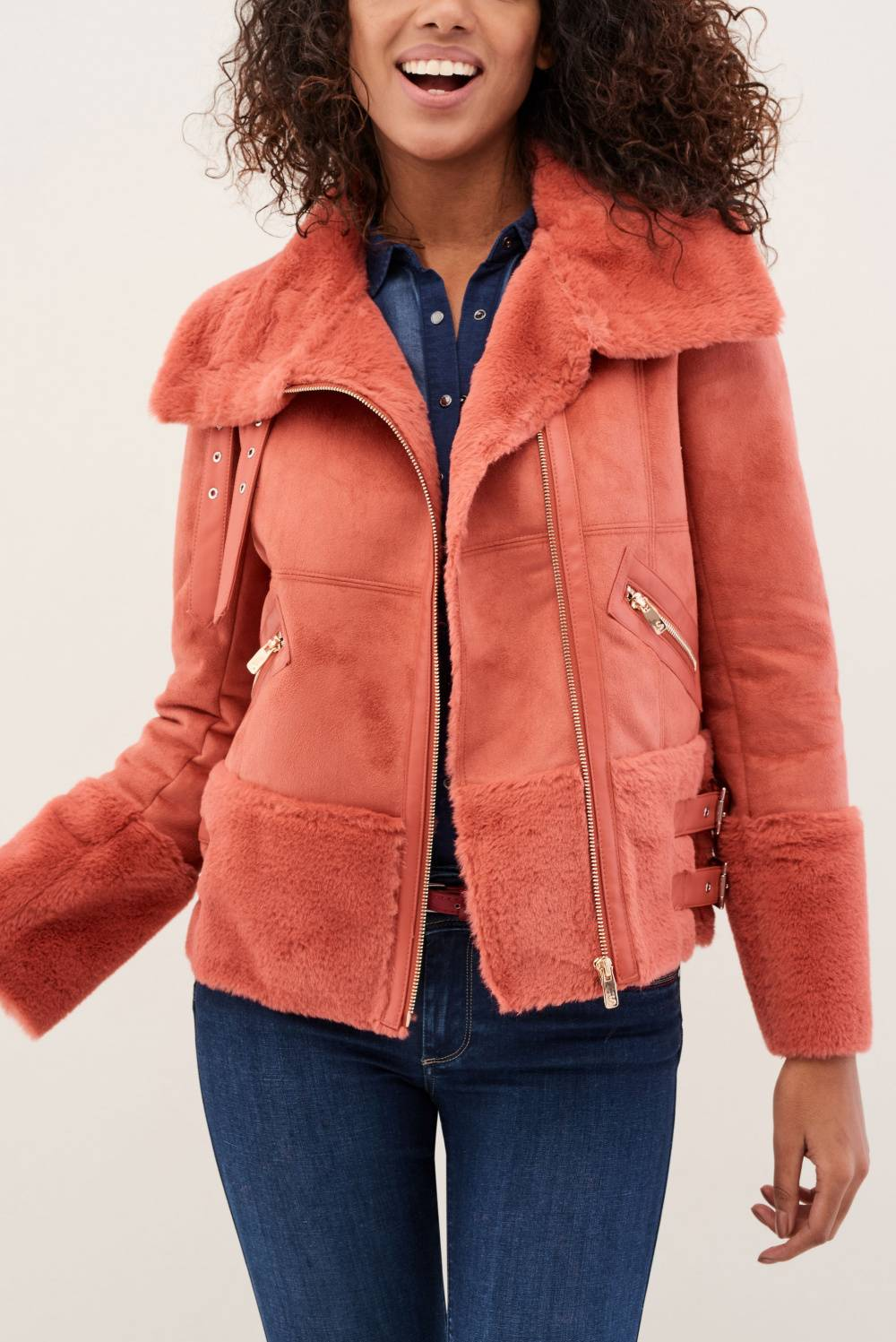 Coat with fur and zippers - Salsa
