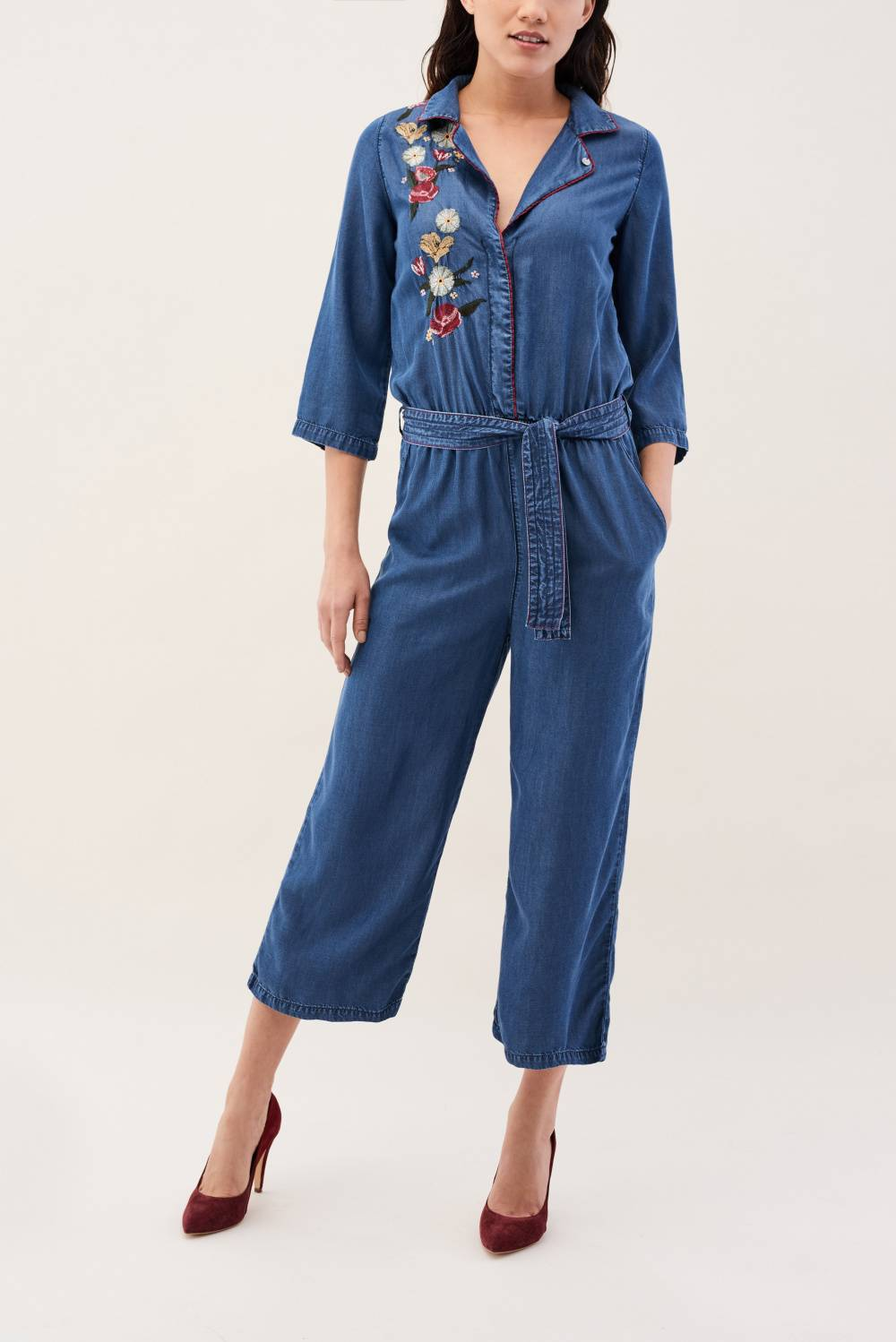 Light denim jumpsuit with embroidery - Salsa