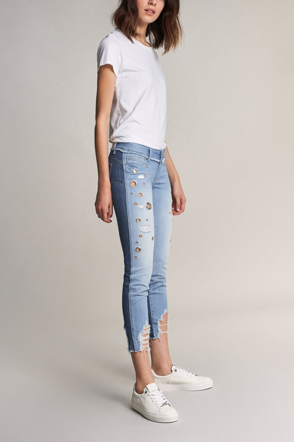 Shape Up capri jeans with eyelets - Salsa
