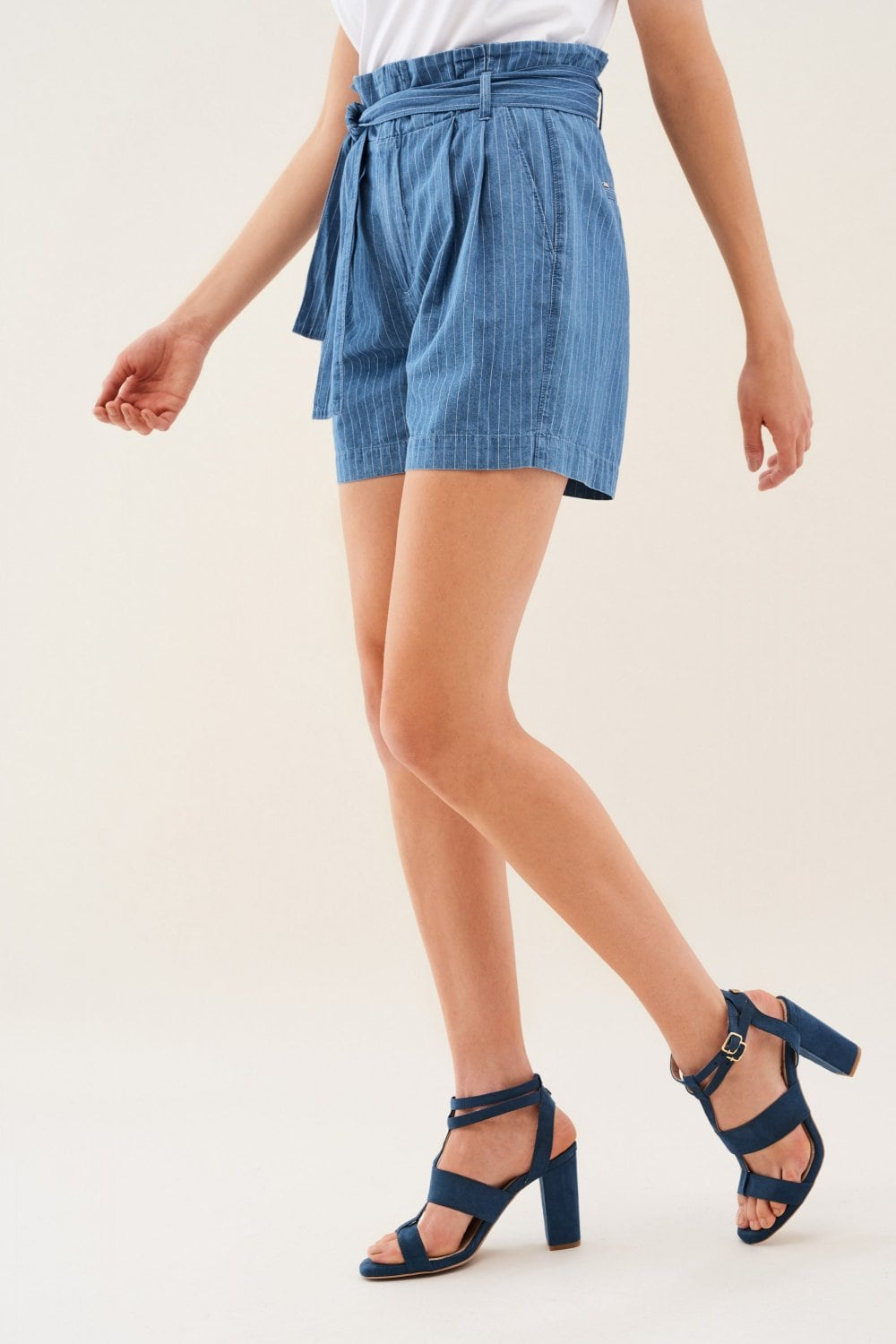 Striped denim shorts with belt - Salsa
