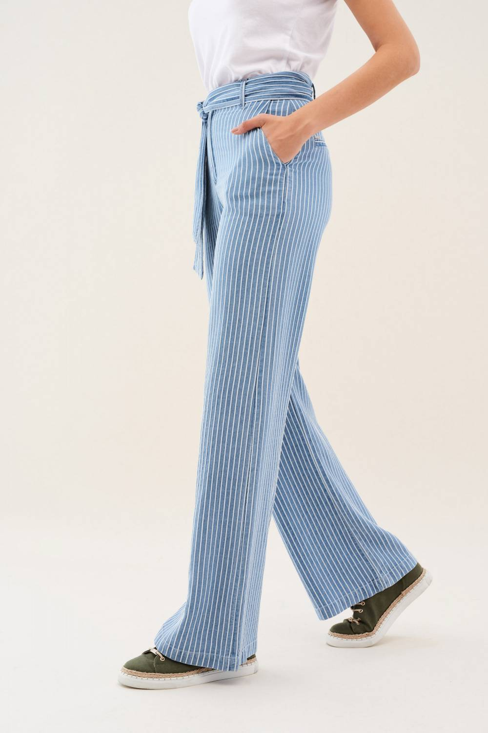 Striped large trousers in light denim - Salsa