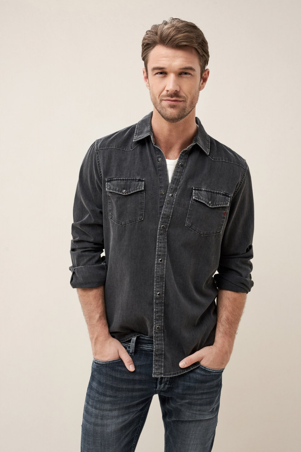 Slim fit shirt in black denim - Salsa