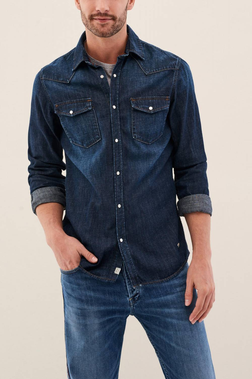 Camisa slim fit em denim - Salsa