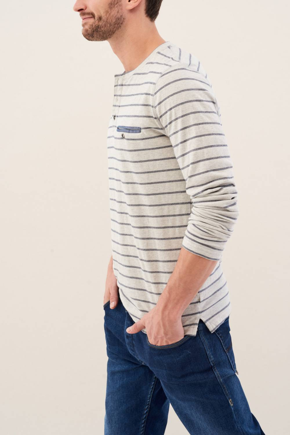 Jacquard striped jumper - Salsa