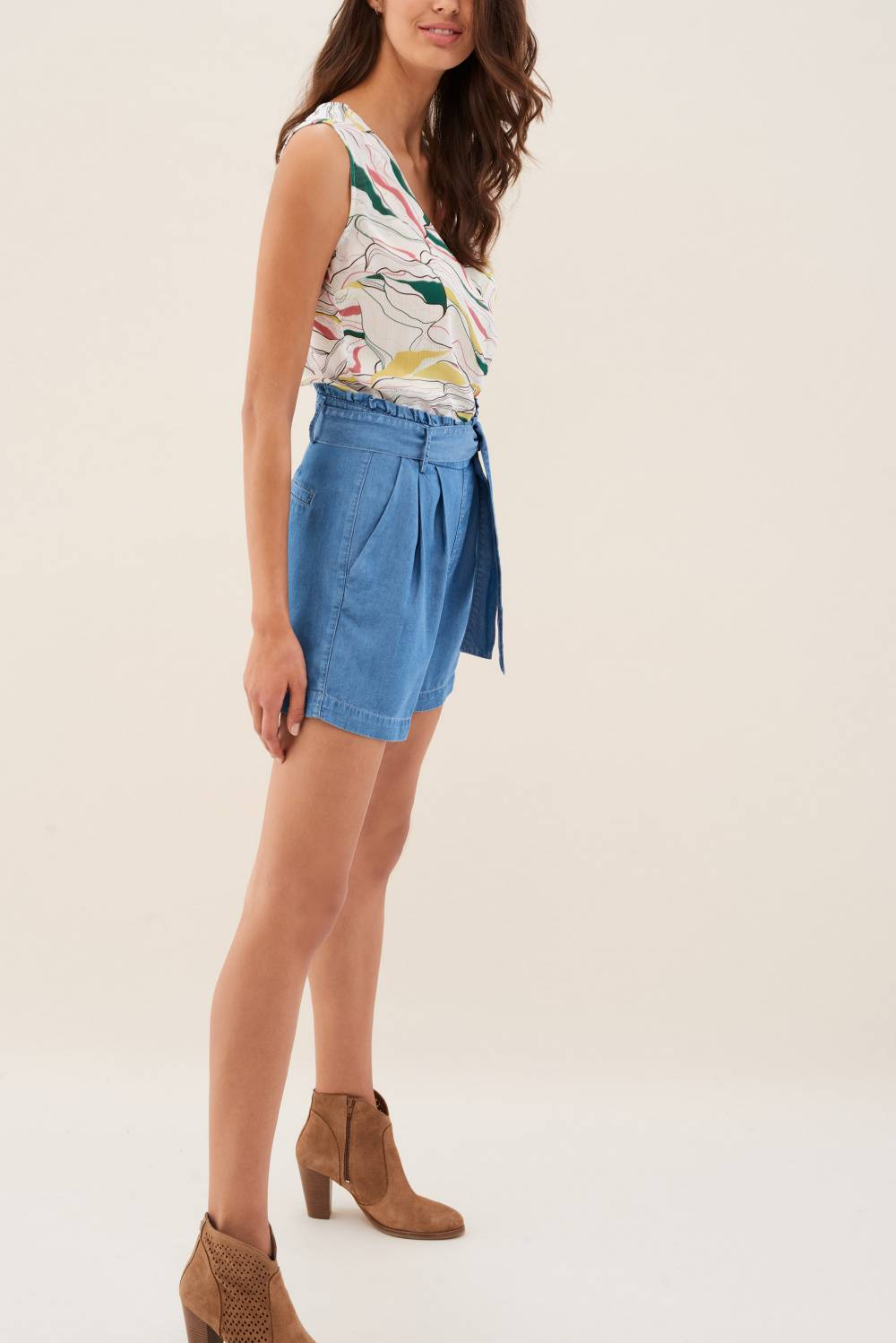 Short jumpsuit in denim and printed fabric - Salsa