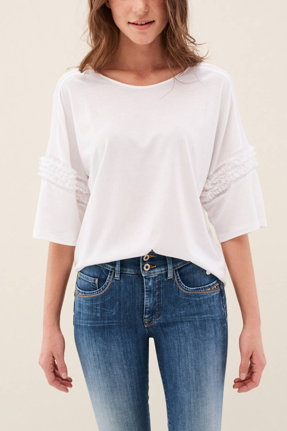 T-shirt with frills on the sleeves - Salsa