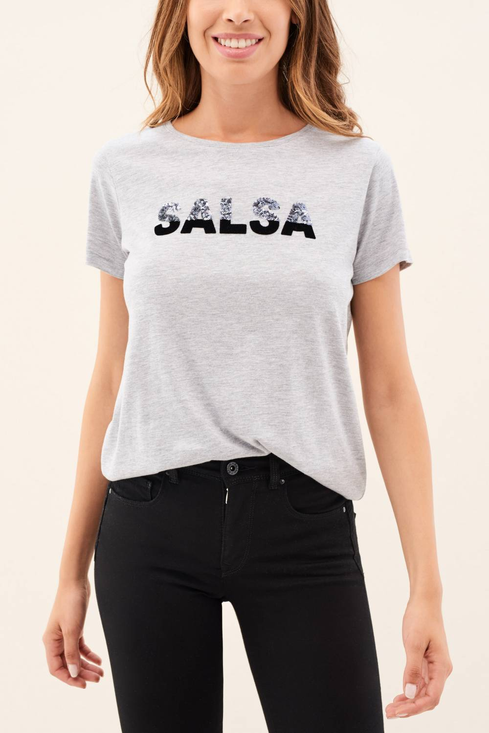 T-Shirt, mit Salsa-Label in Pailletten - Salsa