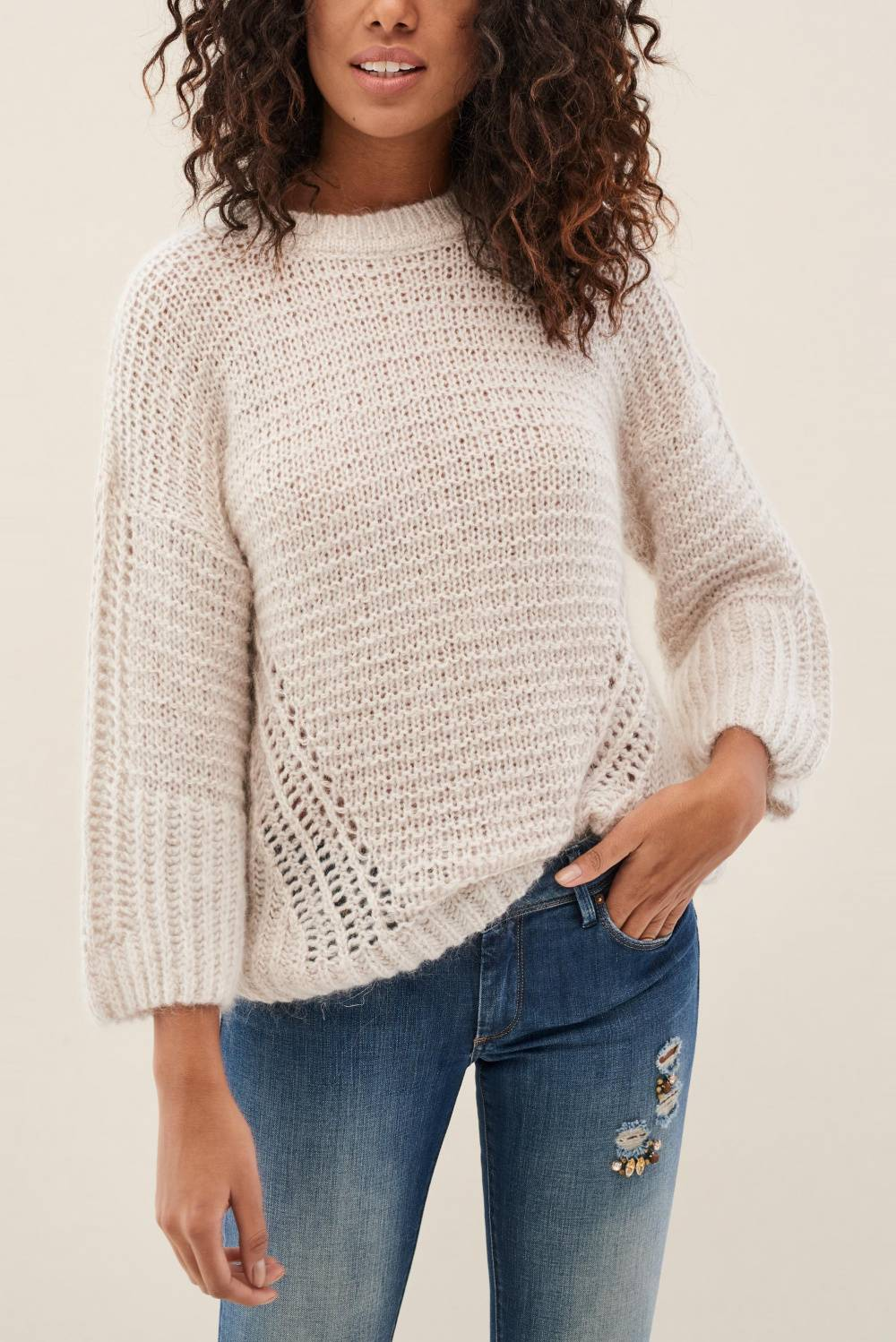 Knit jumper with wide sleeves - Salsa