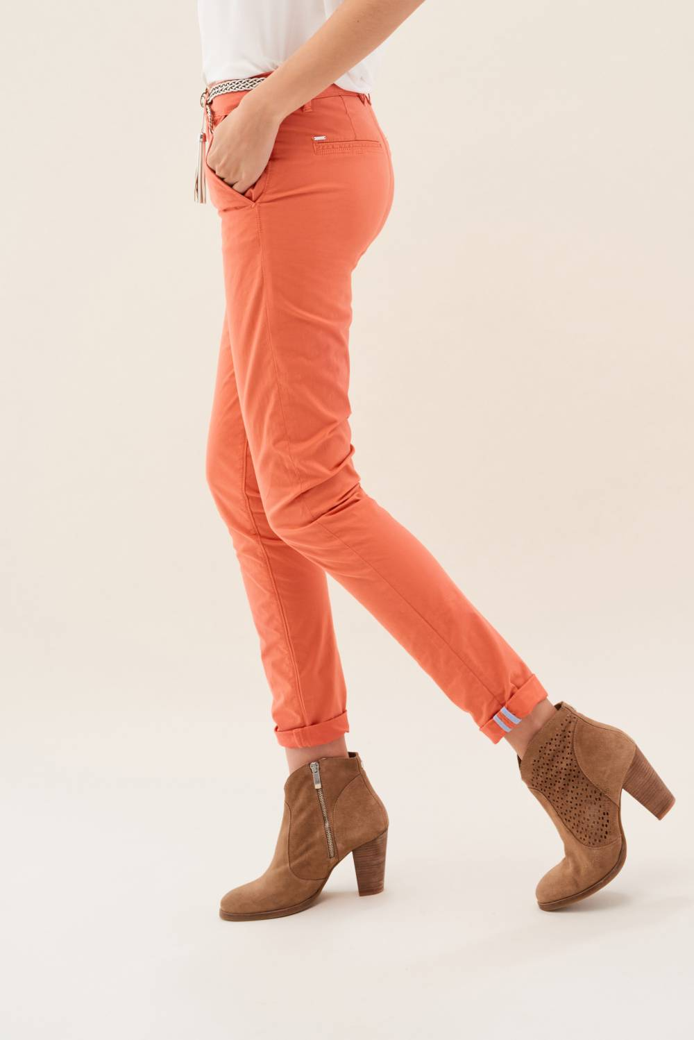Chino Colette trousers in colour fabric - Salsa