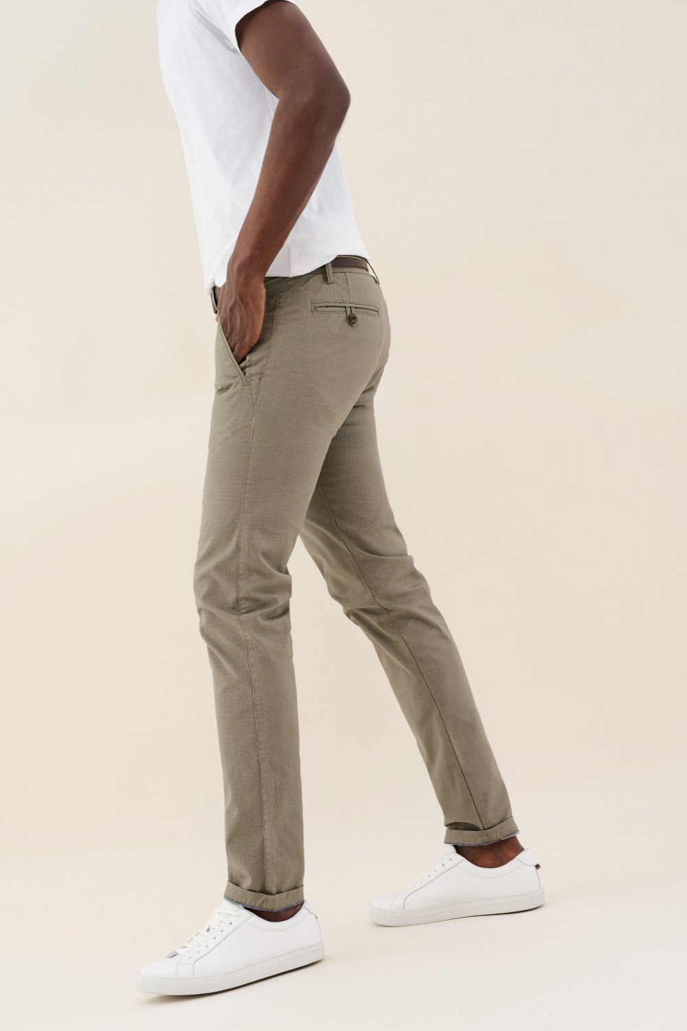 Slender slim carrot chinos with belt - Salsa