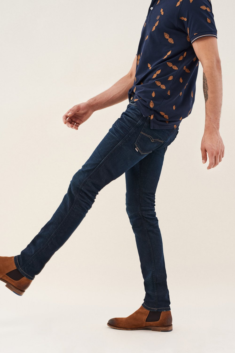 Slender slim carrot jeans with ribbing on sides - Salsa