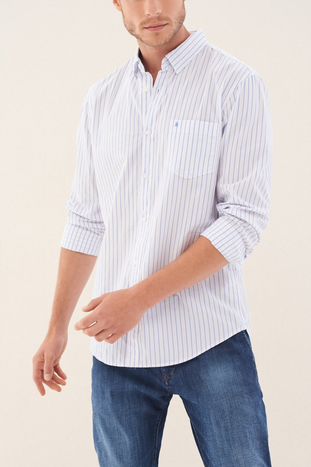 Slim fit striped shirt with print - Salsa