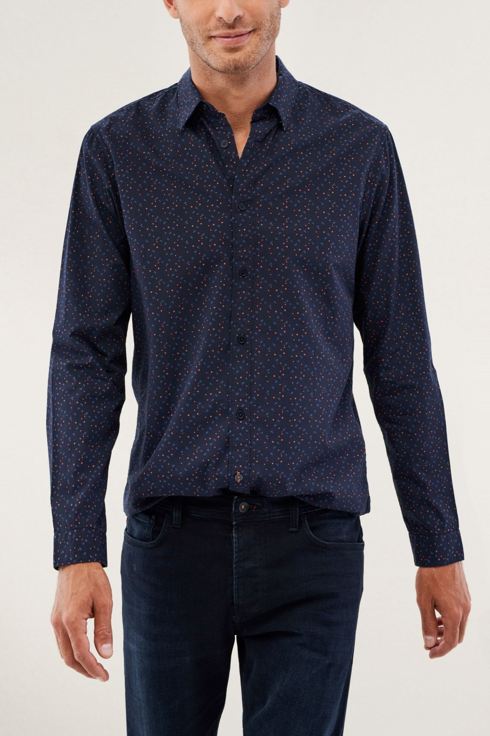 Camisa slim fit con microprint - Salsa