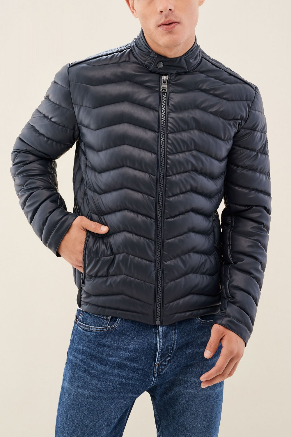 Padded regular fit jacket in nappa leather - Salsa