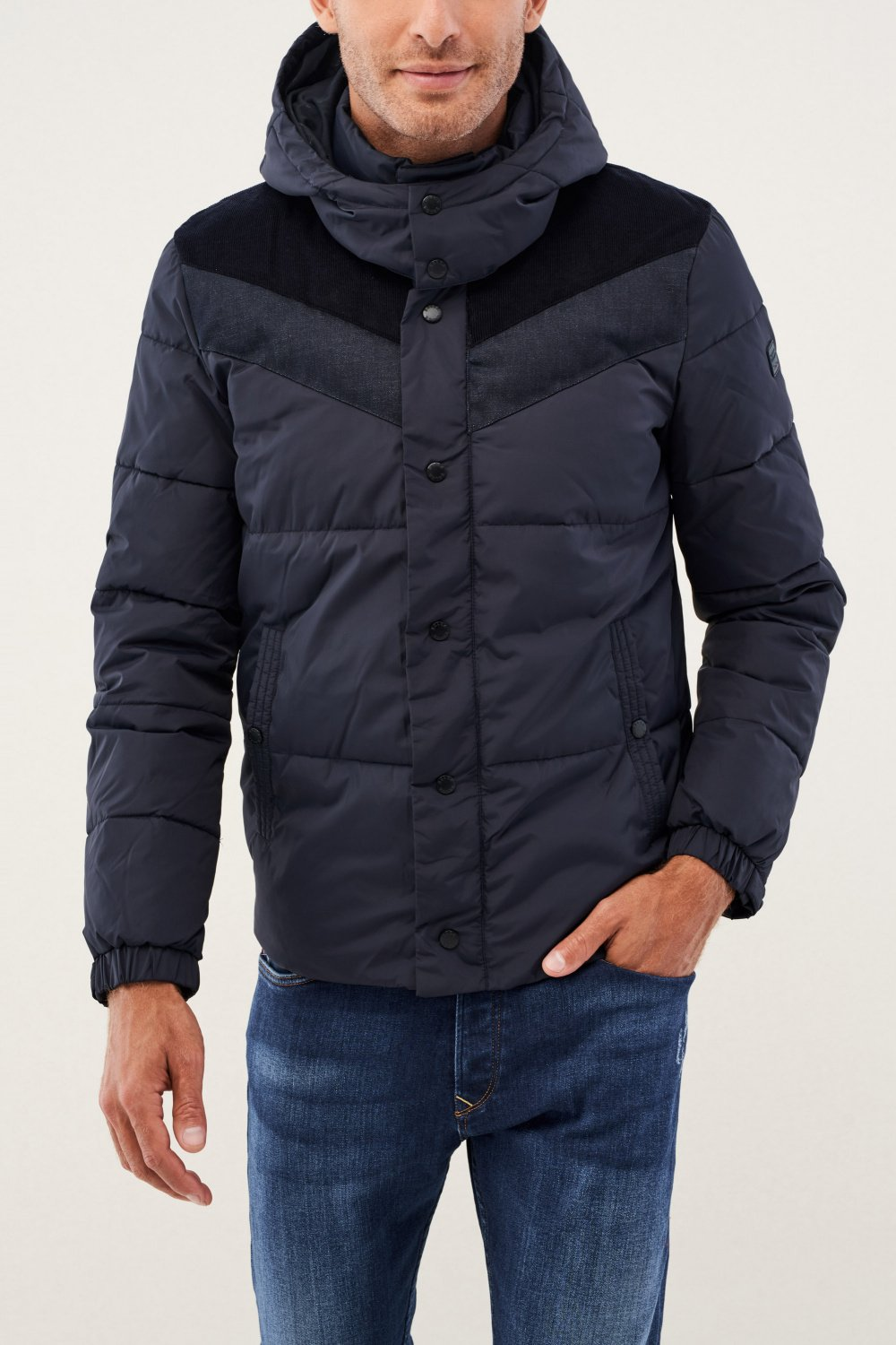 Padded regular fit jacket with detachable hood - Salsa