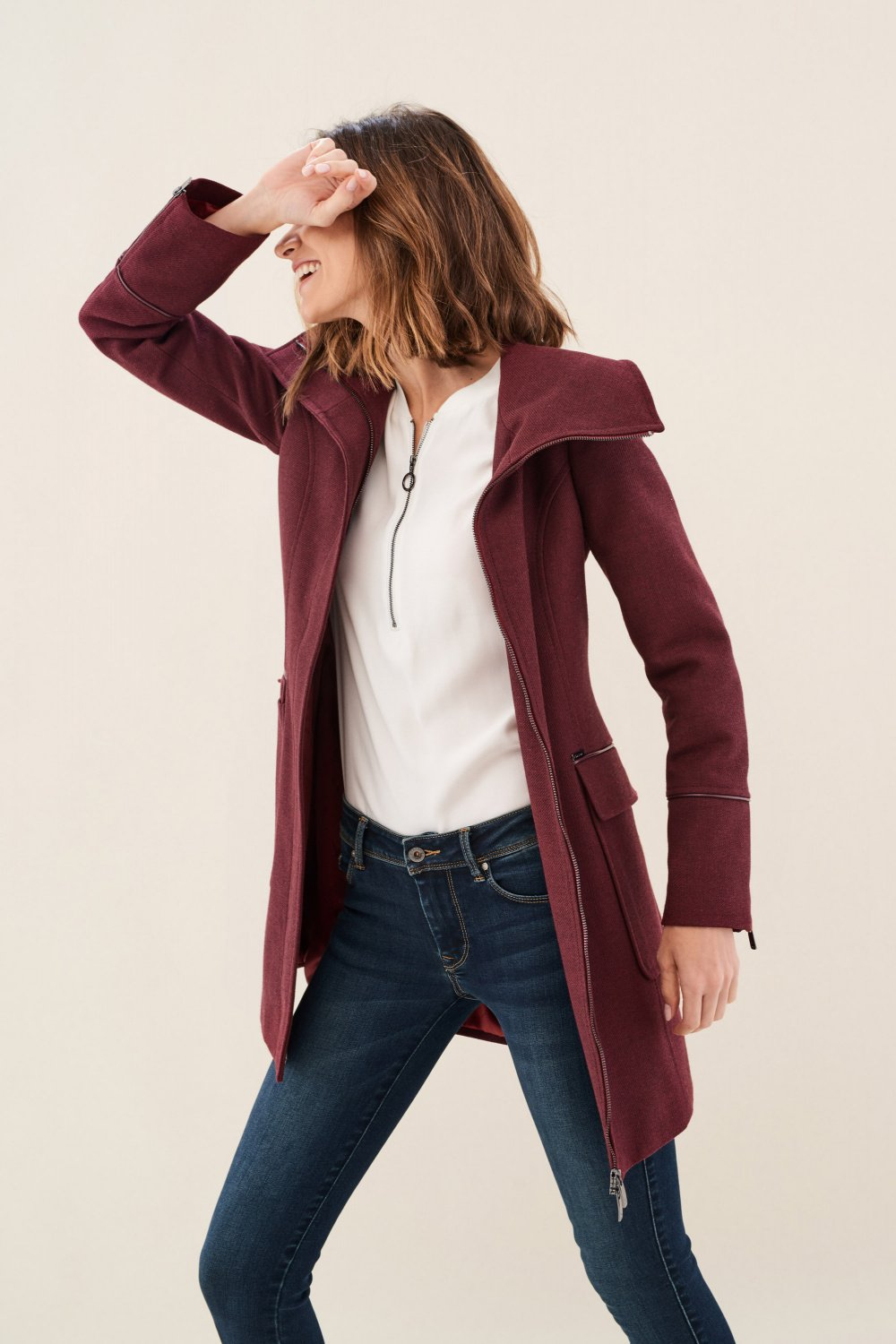 Farming coat with zip by Re.Verso - Salsa