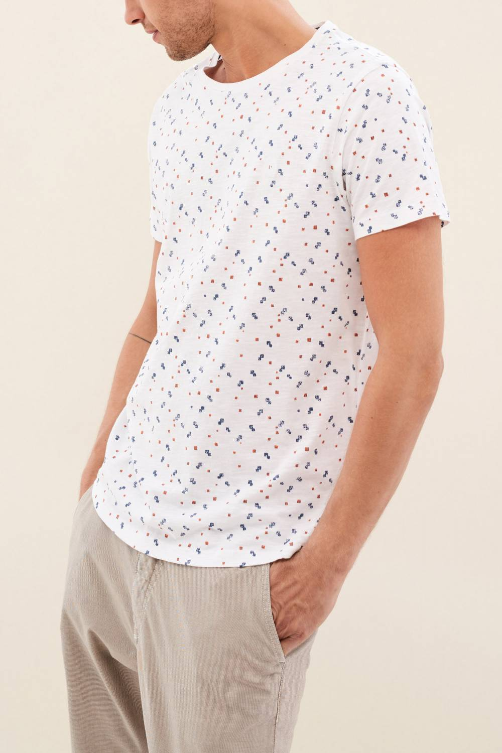 White t-shirt with allover print - Salsa