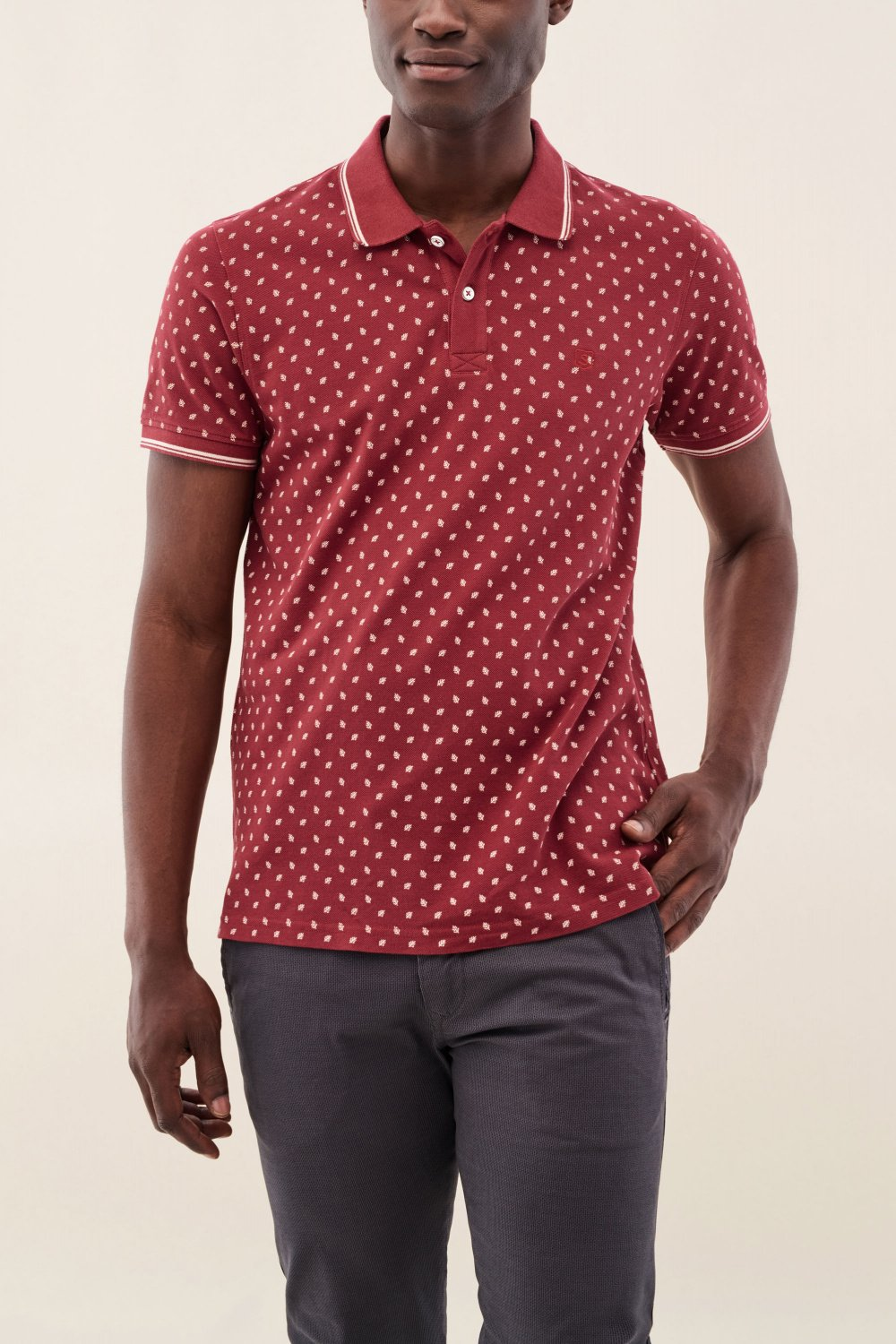 Poloshirt, Regular Fit, Bordeaux, texturiert - Salsa