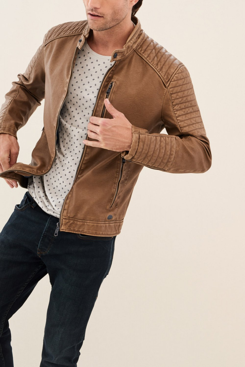Blouson slim fit en simili cuir - Salsa