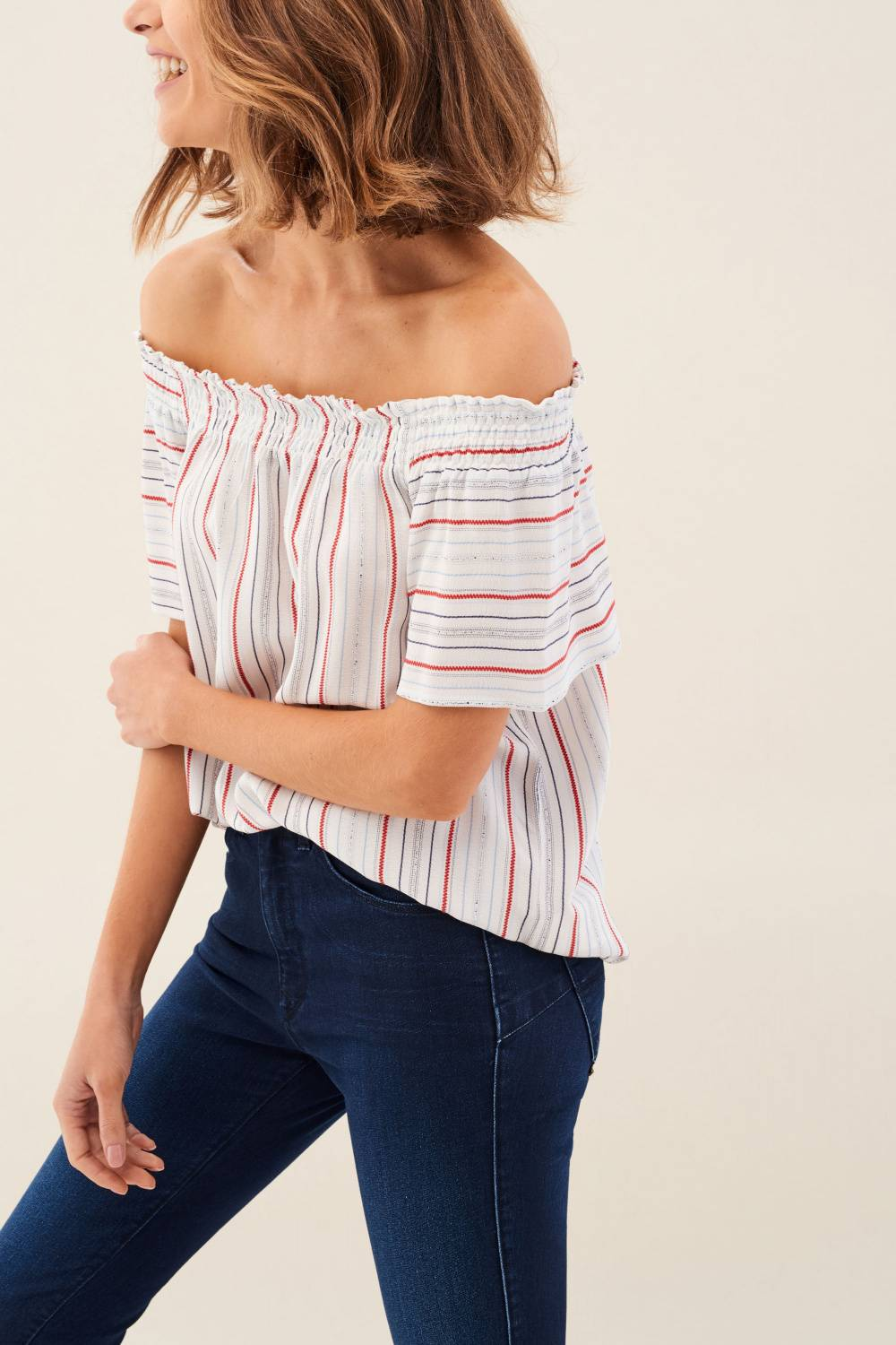Striped open-shoulder tunic - Salsa