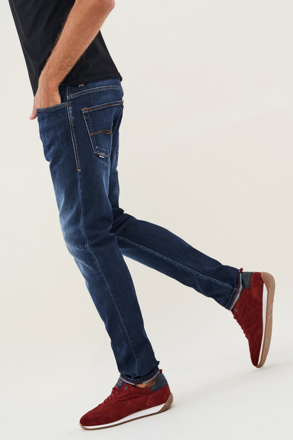 Jeans Slender slim carrot en warm denim greencast - Salsa