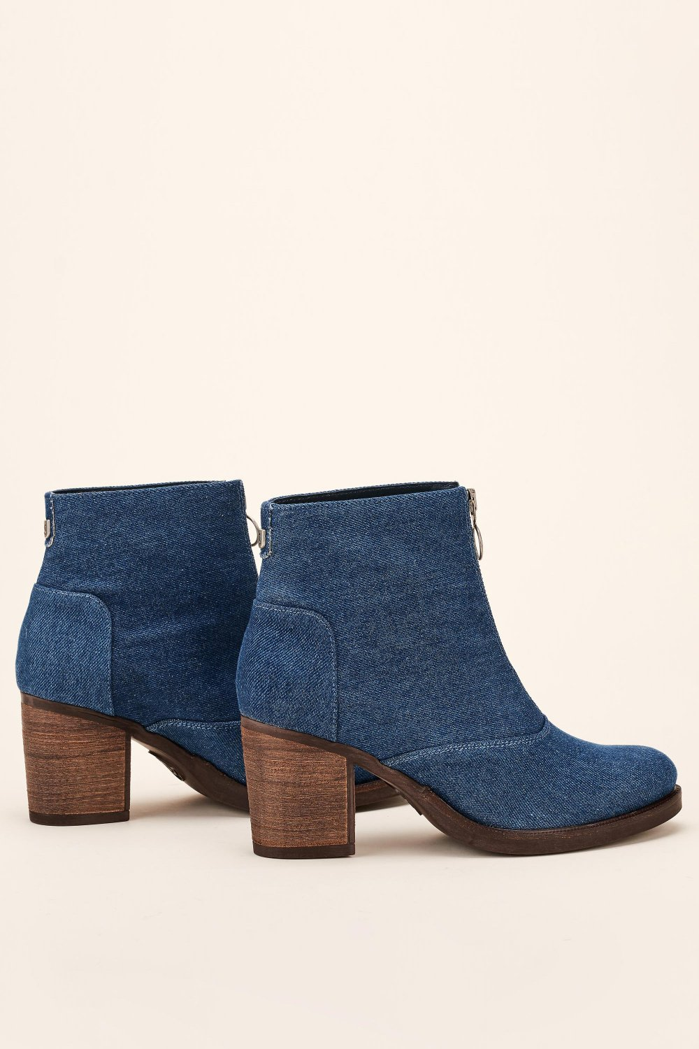 Denim ankle boot with front zip - Salsa