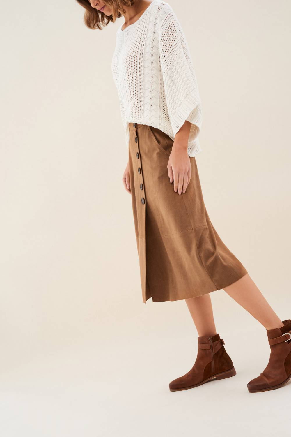Mid-length suede skirt - Salsa