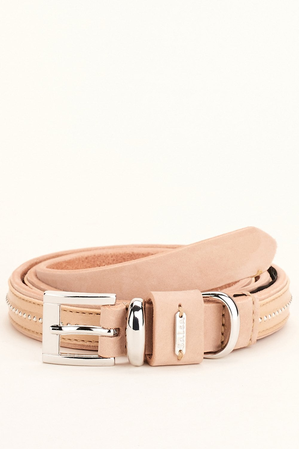 Leather belt with rivets - Salsa