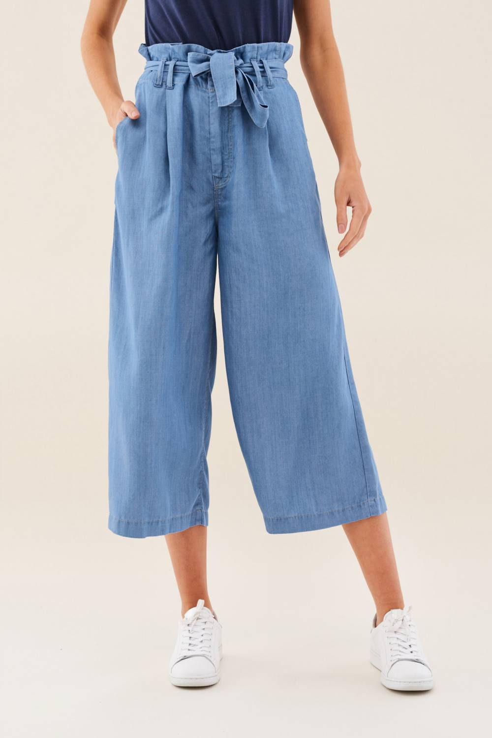 Charlotte culotte jeans in soft light denim - Salsa