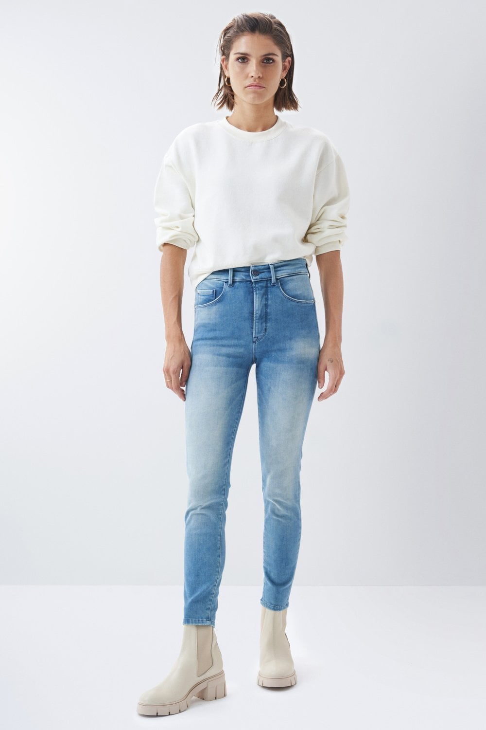Jeans Secret Glamour, Push In, Caprihose, in gewaschenem Denim - Salsa