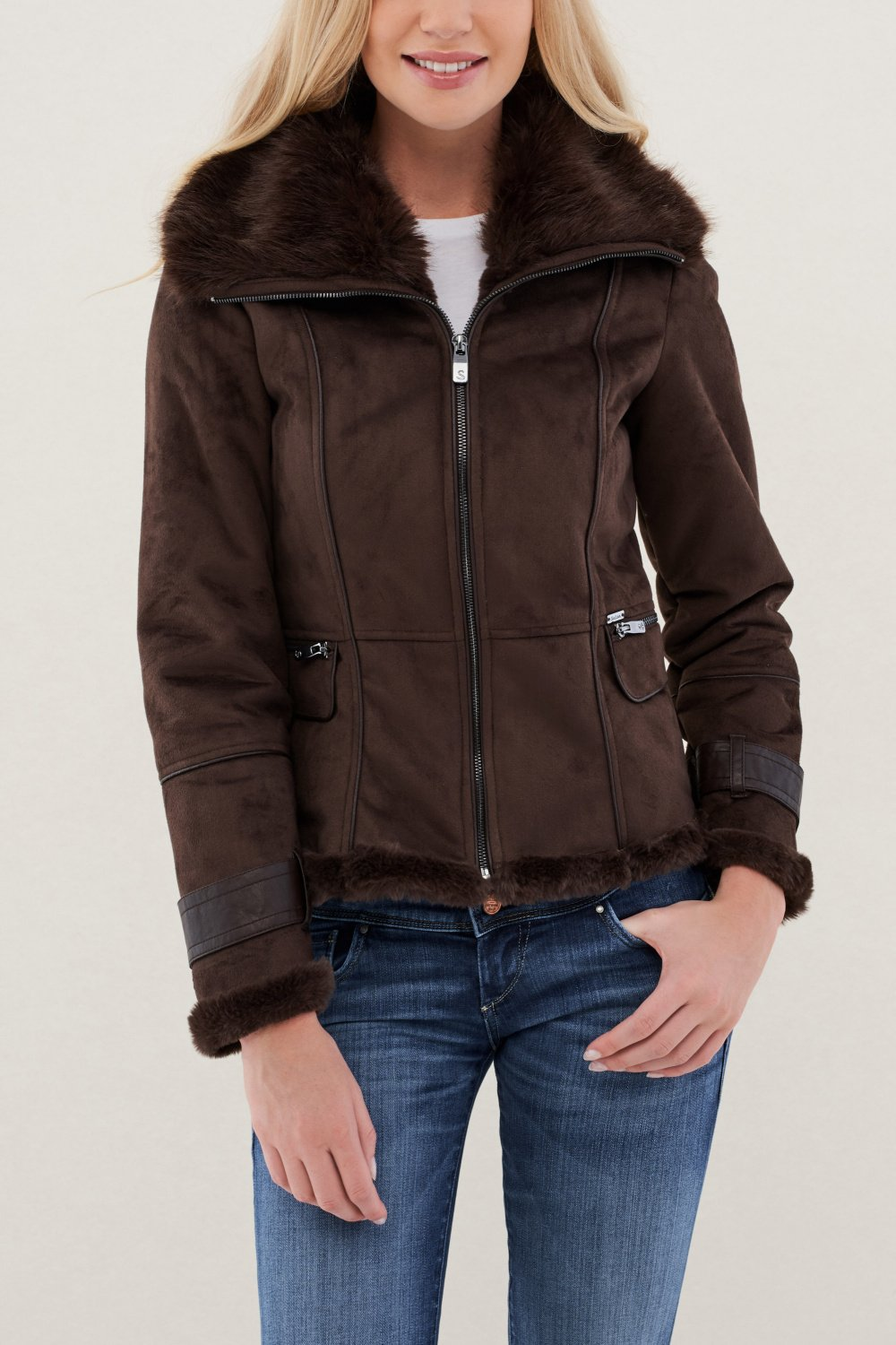 Short coat with belt and fur - Salsa