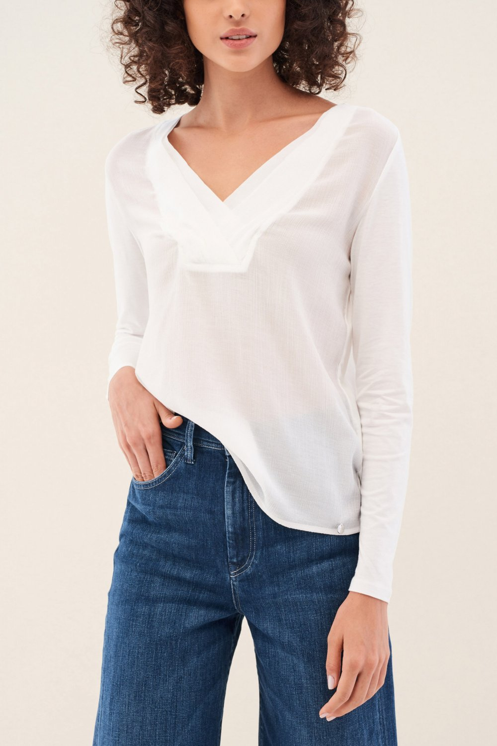 Blouse with fabric detail on front - Salsa