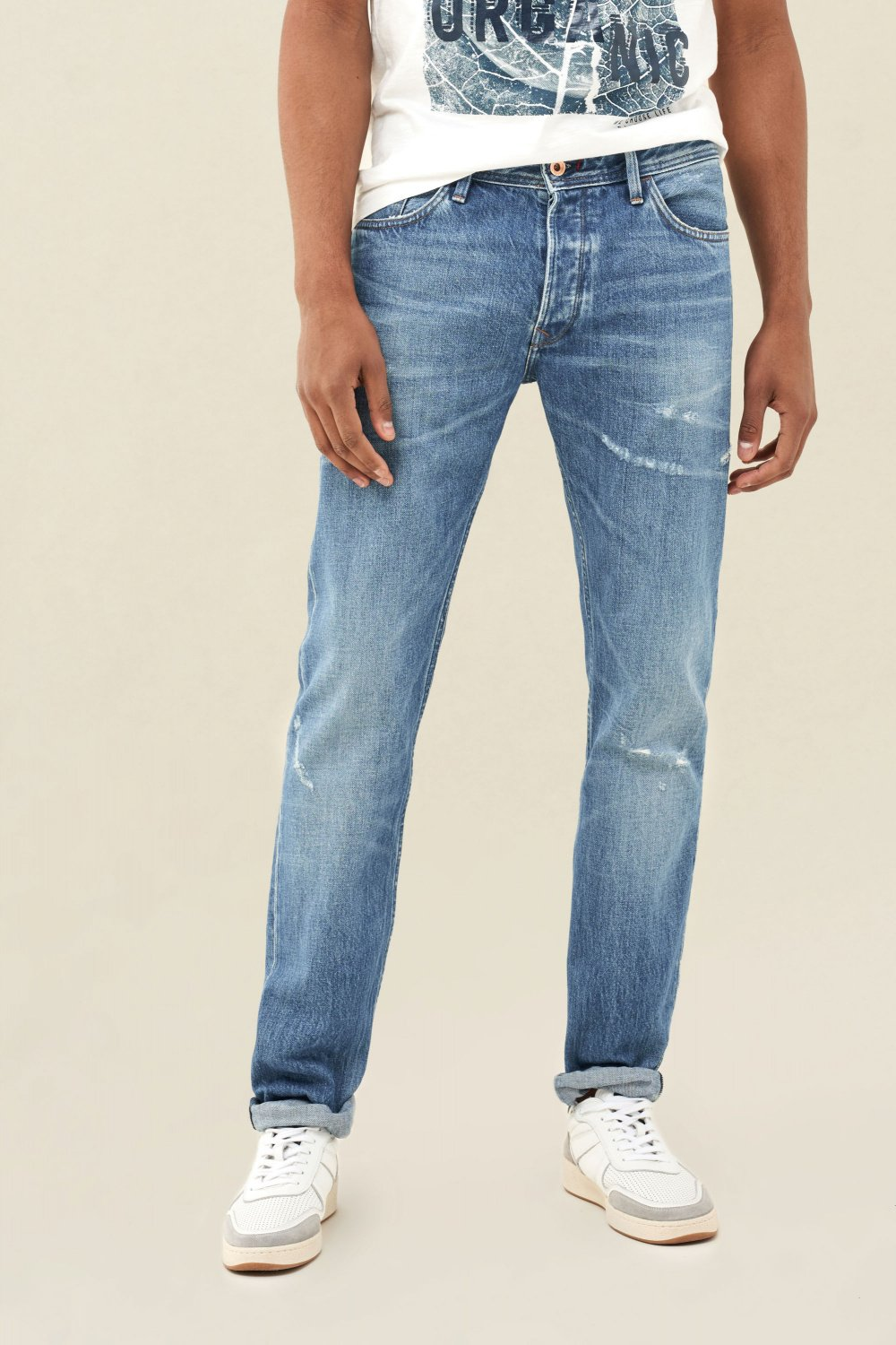 Lima tapered premiun wash jeans with wear effect - Salsa
