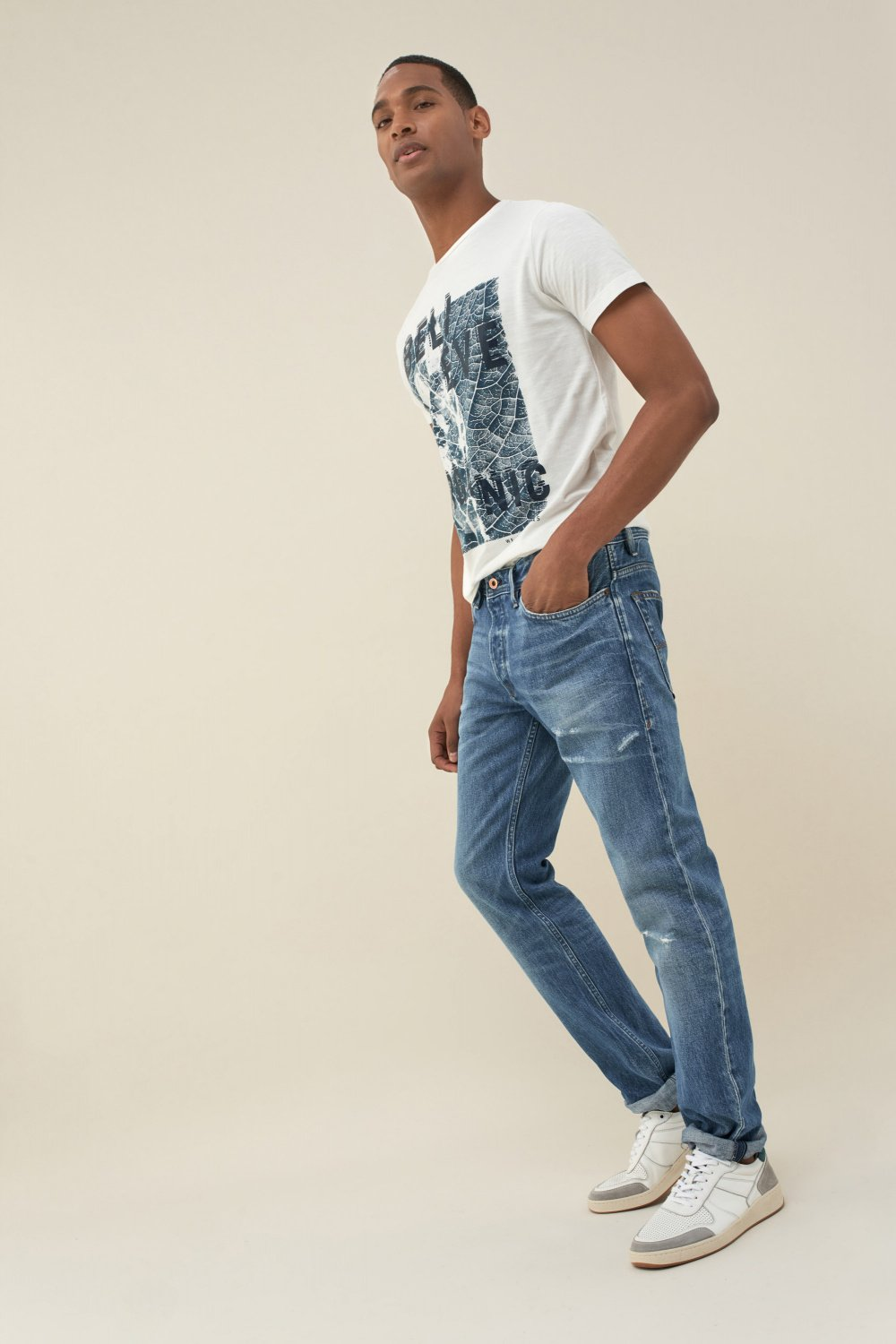 Jeans lima tapered premiun wash com rotos - Salsa