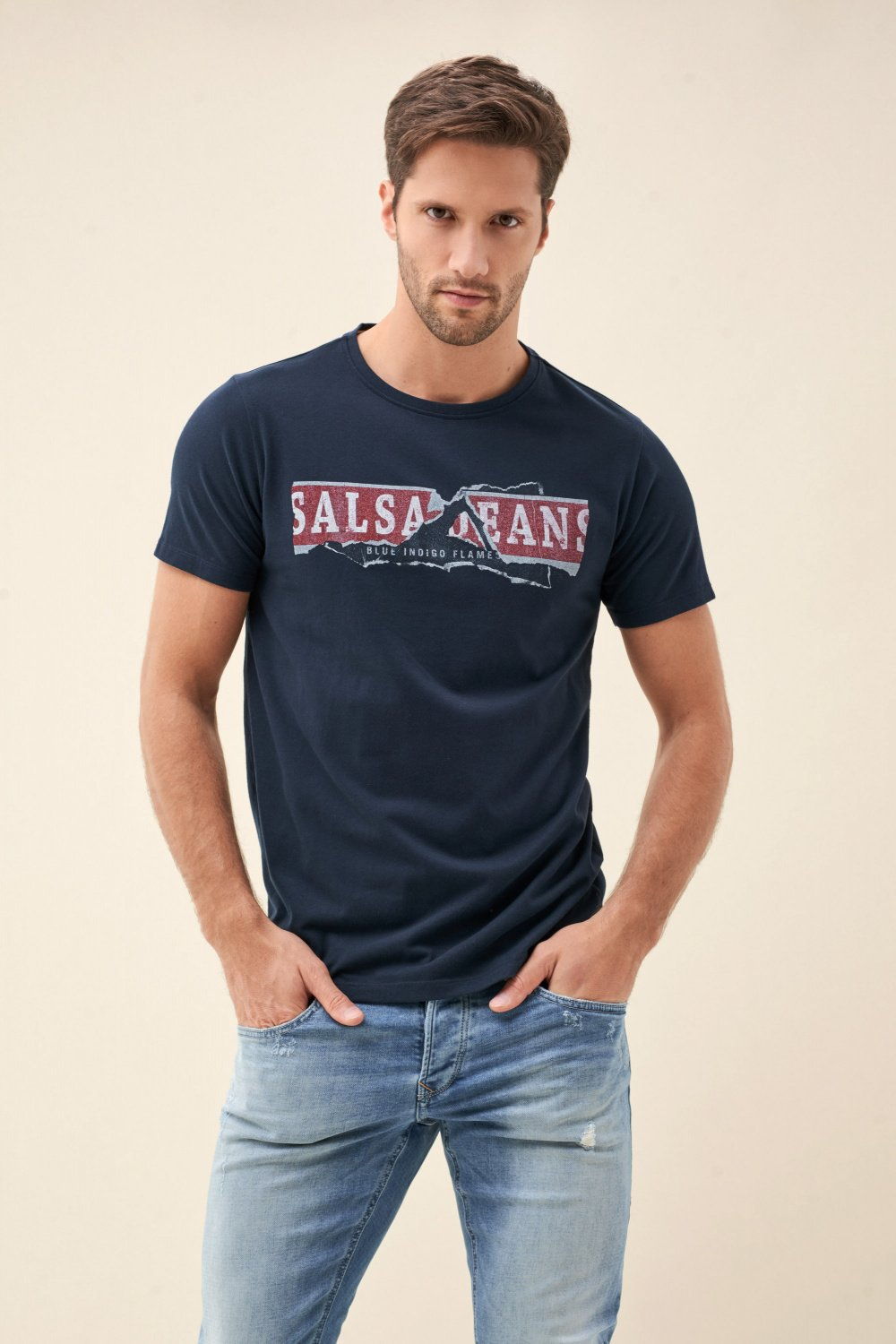 Textured t-shirt with logo print - Salsa