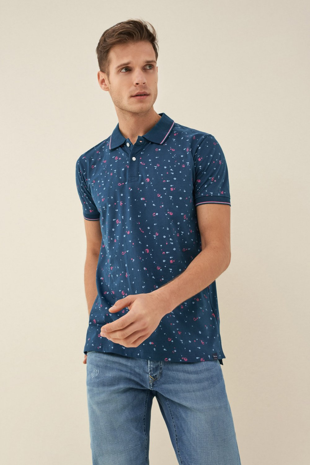Poloshirt, Regular Fit, Mikroprint - Salsa