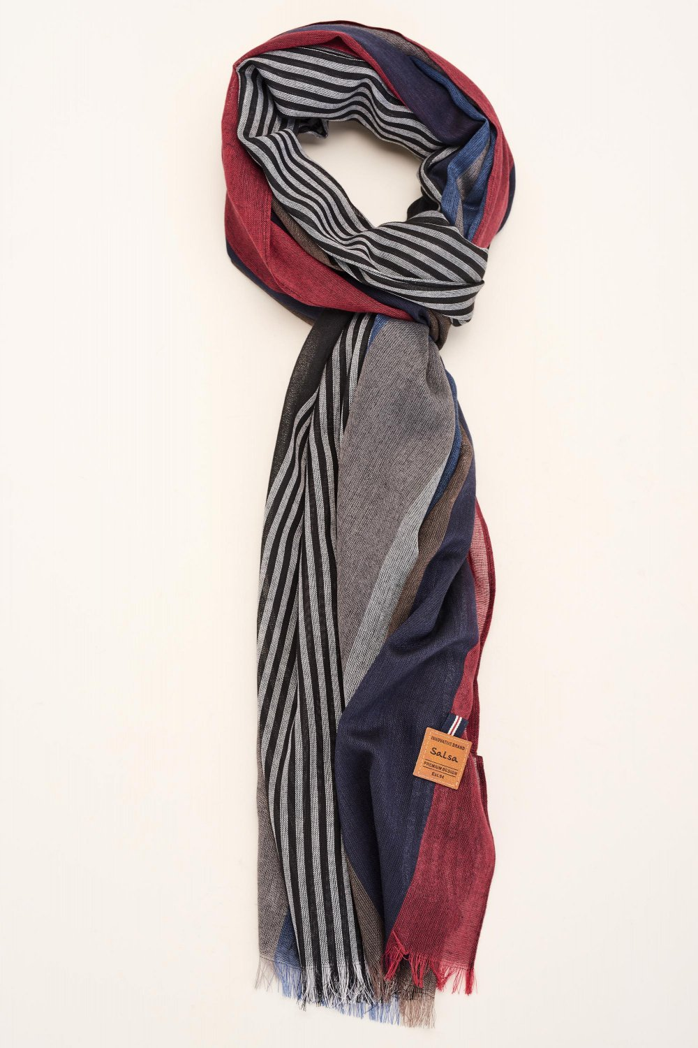 Soft striped scarf - Salsa