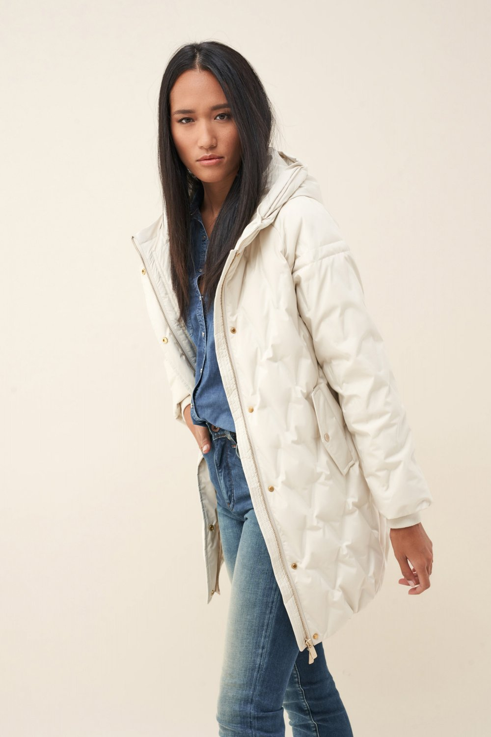 Feather long puffer jacket with hood - Salsa