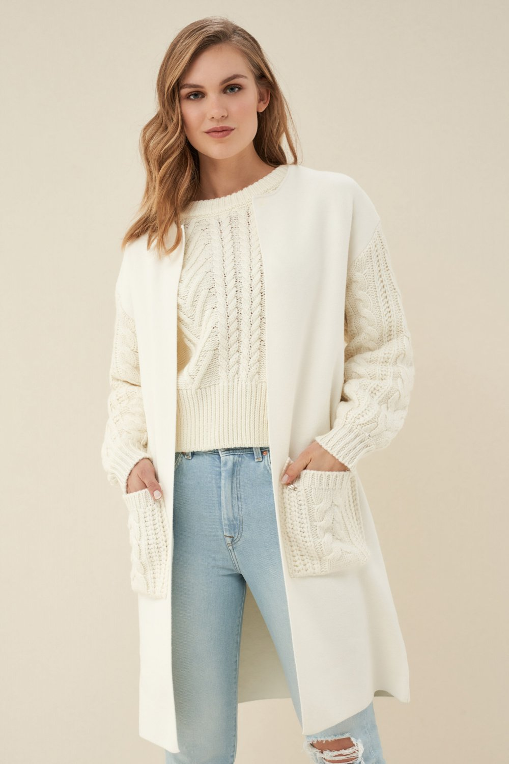 Knitted cardigan with pockets - Salsa