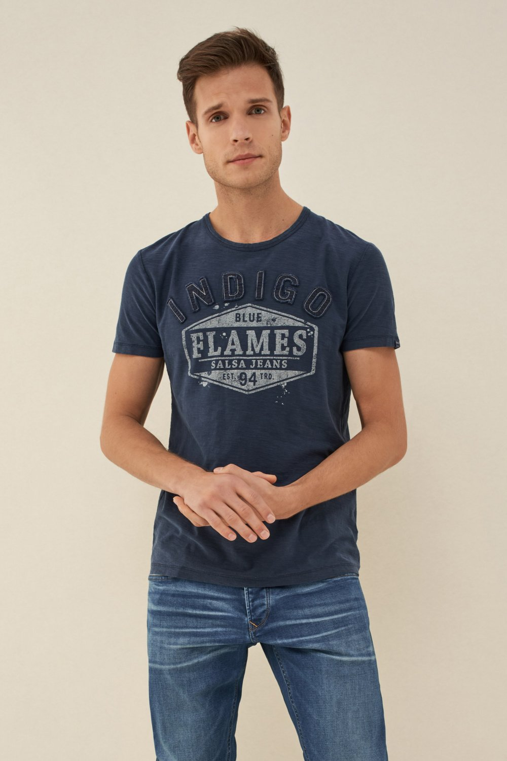 T-shirt with stitched-on letters - Salsa