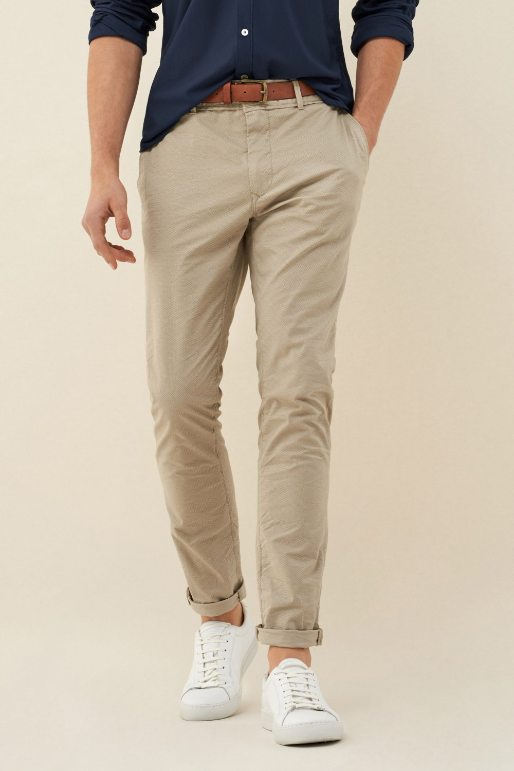 Andy slim chino trousers in microprint with belt - Salsa