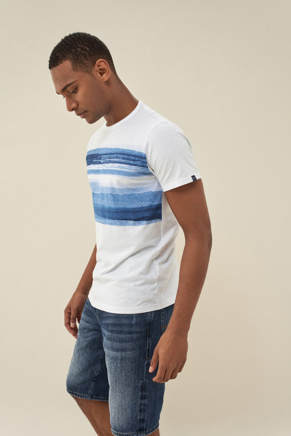 Cotton t-shirt with stripes on chest - Salsa