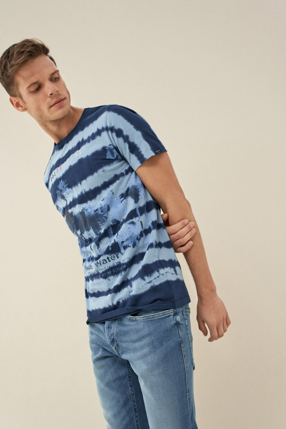 Striped tie-dye t-shirt - Salsa